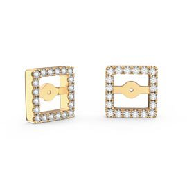 Charmisma White Sapphire 18K Gold Vermeil Princess Earring Halo Jackets