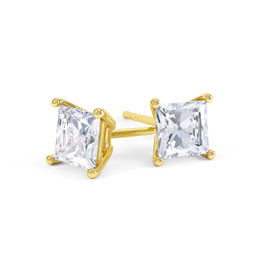 Charmisma 1ct White Sapphire 18K Gold Vermeil Princess Stud Earrings