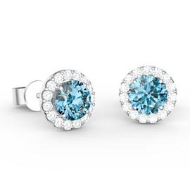 Halo 1ct Swiss Blue Topaz Platinum plated Silver Stud Earrings