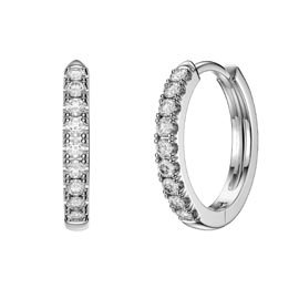 Charmisma White Sapphire Platinum plated Silver Hoop Earrings