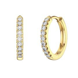Charmisma White Sapphire 18K Gold Vermeil Hoop Earrings Small