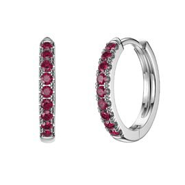 Charmisma Ruby Platinum plated Silver Hoop Earrings Small