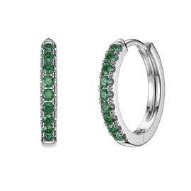 Charmisma Emerald Platinum plated Silver Hoop Earrings Small