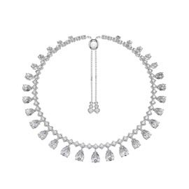 Princess Graduated Pear Drop Diamond CZ Silver Choker Tennis Necklace