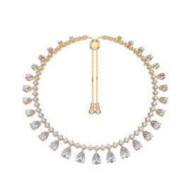 Princess Graduated Pear Drop White Sapphire 18K Gold Vermeil Choker Tennis Necklace