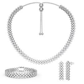 Three Row White Sapphire Platinum plated Silver Jewelry Set