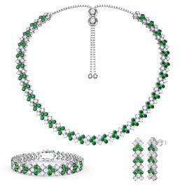 Three Row Emerald and White Sapphire Platinum plated Silver Jewelry Set