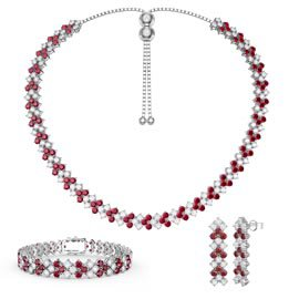 Three Row Ruby and White Sapphire Platinum plated Silver Jewelry Set