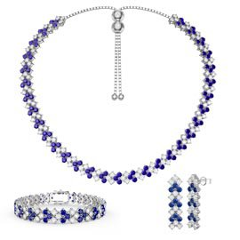 Three Row Blue and White Sapphire Platinum plated Silver Jewelry Set