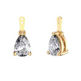 Charmisma 4ct White Sapphire 18K Gold Vermeil Pear Earring Drops