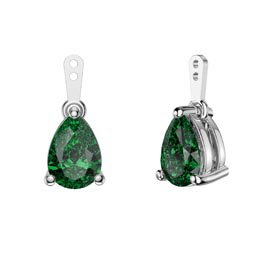 Charmisma 4ct Emerald CZ Platinum Plated Silver Pear Earring Drops