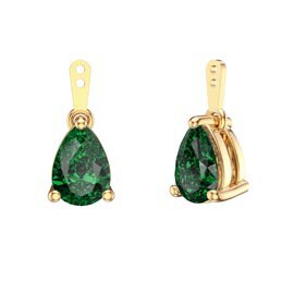 Charmisma 4ct Emerald CZ 18K Gold Vermeil Pear Earring Drops
