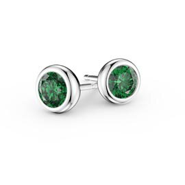 Infinity Emerald Platinum plated Silver Stud Earrings