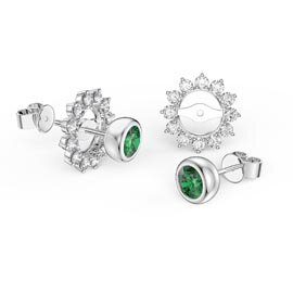 Infinity Emerald 10K White Gold Stud Starburst Earrings Halo Jacket Set