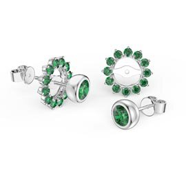 Infinity Emerald 10K White Gold Stud Gemburst Earrings Halo Jacket Set