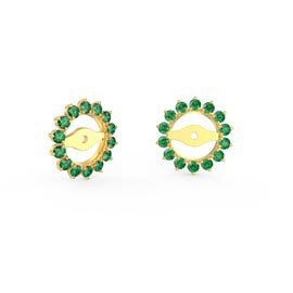 Fusion Emerald 18K Gold Vermeil Gemburst Halo Earring Jackets