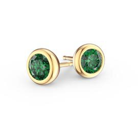 Infinity Natural Emerald 18K Yellow Gold Stud Earrings