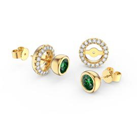 Infinity Emerald 18K Gold Vermeil Stud Earrings Halo Jacket Set