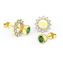 Infinity Emerald 10K Yellow Gold Stud Starburst Earrings Halo Jacket Set