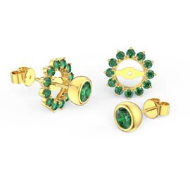 Infinity Emerald 10K Yellow Gold Stud Gemburst Earrings Halo Jacket Set