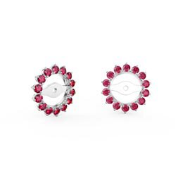 Fusion Ruby Platinum plated Silver Gemburst Halo Earring Jackets