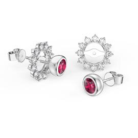 Infinity Ruby Platinum plated Silver Stud Starburst Earrings Halo Jacket Set