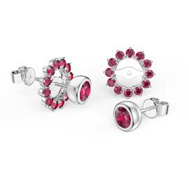 Infinity Ruby Platinum plated Silver Stud Gemburst Earrings Halo Jacket Set