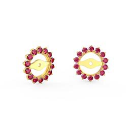 Fusion Ruby 18K Gold Vermeil Gemburst Halo Earring Jackets