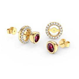 Infinity Ruby 18K Gold Vermeil Stud Earrings Halo Jacket Set