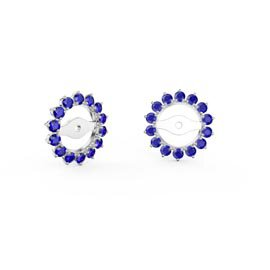 Fusion Sapphire Platinum plated Silver Gemburst Halo Earring Jackets