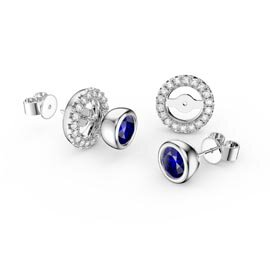 Infinity Sapphire Platinum plated Silver Stud Earrings Halo Jacket Set