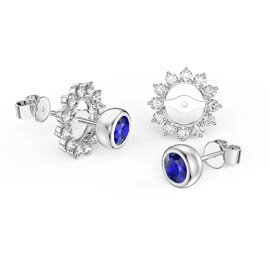 Infinity Sapphire Platinum plated Silver Stud Starburst Earrings Halo Jacket Set