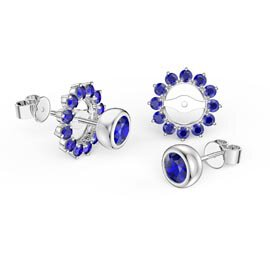 Infinity Sapphire Platinum plated Silver Stud Gemburst Earrings Halo Jacket Set