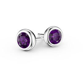Infinity Amethyst Platinum plated Silver Stud Earrings