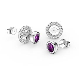 Infinity Amethyst and White Sapphire 10K White Gold Stud Earrings Halo Jacket Set