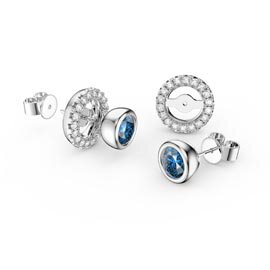 Infinity Blue Topaz Platinum plated Silver Stud Earrings Halo Jacket Set