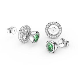 Infinity Peridot and White Sapphire 10K White Gold Stud Earrings Halo Jacket Set