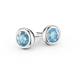 Infinity Aquamarine Platinum plated Silver Stud Earrings