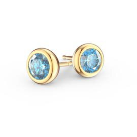 Infinity Aquamarine 18K Gold Vermeil Stud Earrings