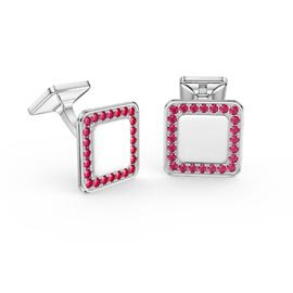 Signature Ruby Platinum plated Silver Cushion Cufflinks