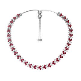 Eternity Three Row Ruby Platinum plated Silver Adjustable Choker Tennis Necklace