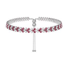 Eternity Three Row Ruby and Diamond CZ Silver Adjustable Choker Tennis Necklace