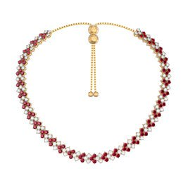 Eternity Three Row Ruby 18K Gold Vermeil Adjustable Choker Tennis Necklace