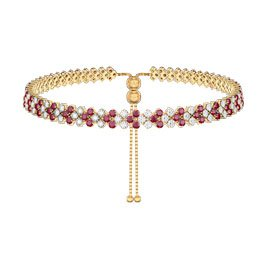 Eternity Three Row Ruby and Diamond CZ 18ct Gold plated Silver Adjustable Choker Tennis Necklace