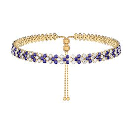 Eternity Three Row Sapphire and Diamond CZ 18ct Gold plated Silver Adjustable Choker Tennis Necklace