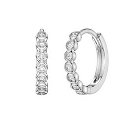 Infinity White Sapphire Platinum plated Silver Hoop Earrings