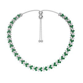 Eternity Three Row Emerald Platinum finished Silver Adjustable Choker Tennis Necklace