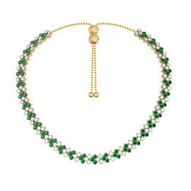 Eternity Three Row Emerald 18K Gold Vermeil Adjustable Choker Tennis Necklace