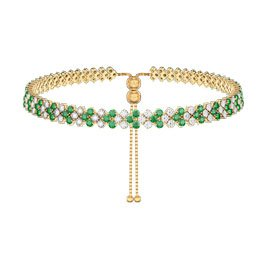 Eternity Three Row Emerald and Diamond CZ 18ct Gold plated Silver Adjustable Choker Tennis Necklace