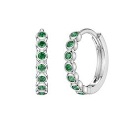 Infinity Emerald Platinum plated Silver Hoop Earrings Small
